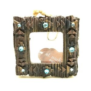Faux wood mini pic frame Christmas tree ornament